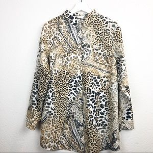 Chico's cheetah print button up blouse size 2.